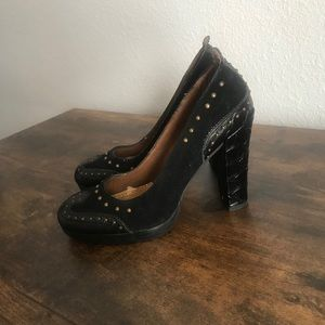 Sam Edelman Black Suede and Leather Studded Heels